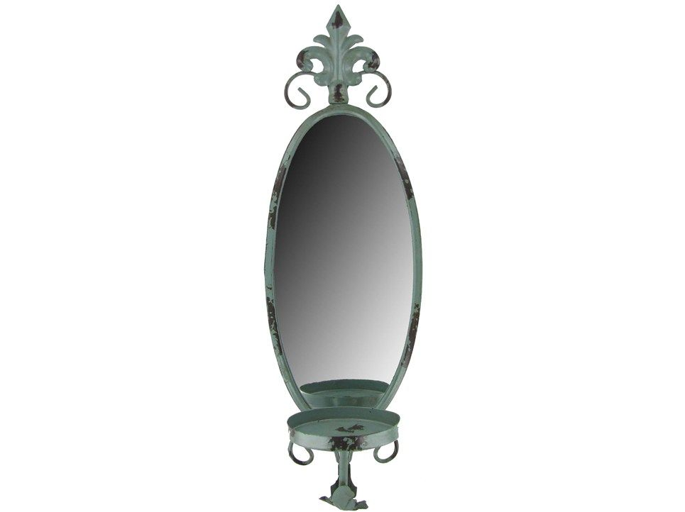Antique Blue Metal & Mirror Wall Candle Holder | Wall ... on Hobby Lobby Wall Candle Sconces Wall Candle Holders id=77309