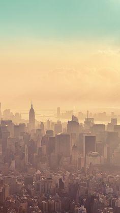 Beautiful New York City Sunrise Haze IPhone 5 Wallpaper