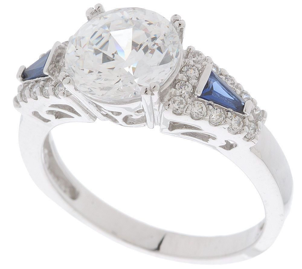 Qvc Epiphany Sterling Platinum Clad Diamonique Round Engagement Ring 7 $295