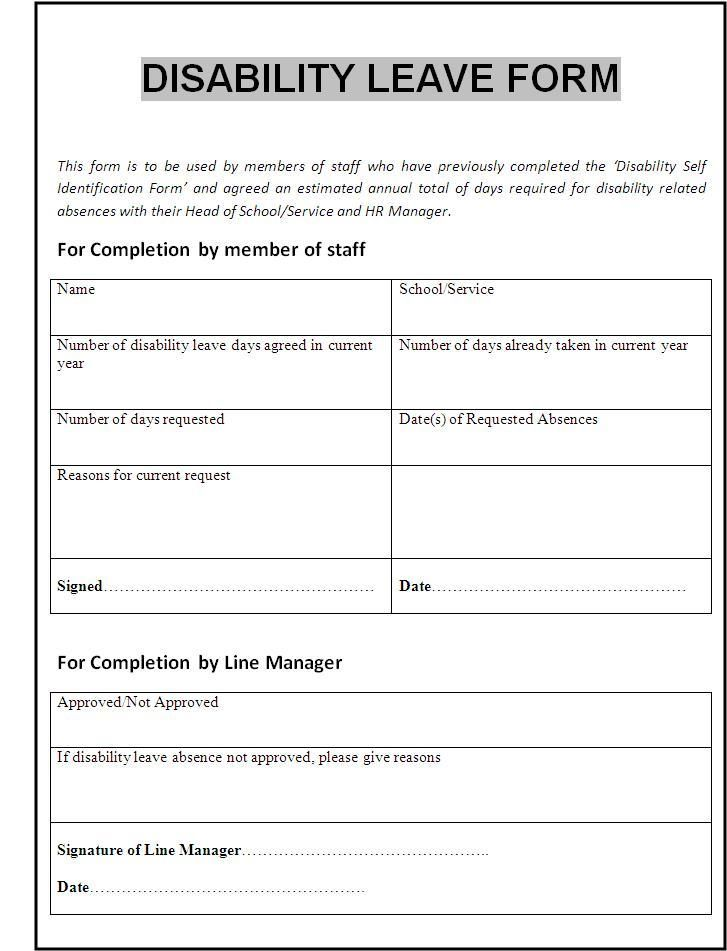 Disability Form  Wordstemplates    Template