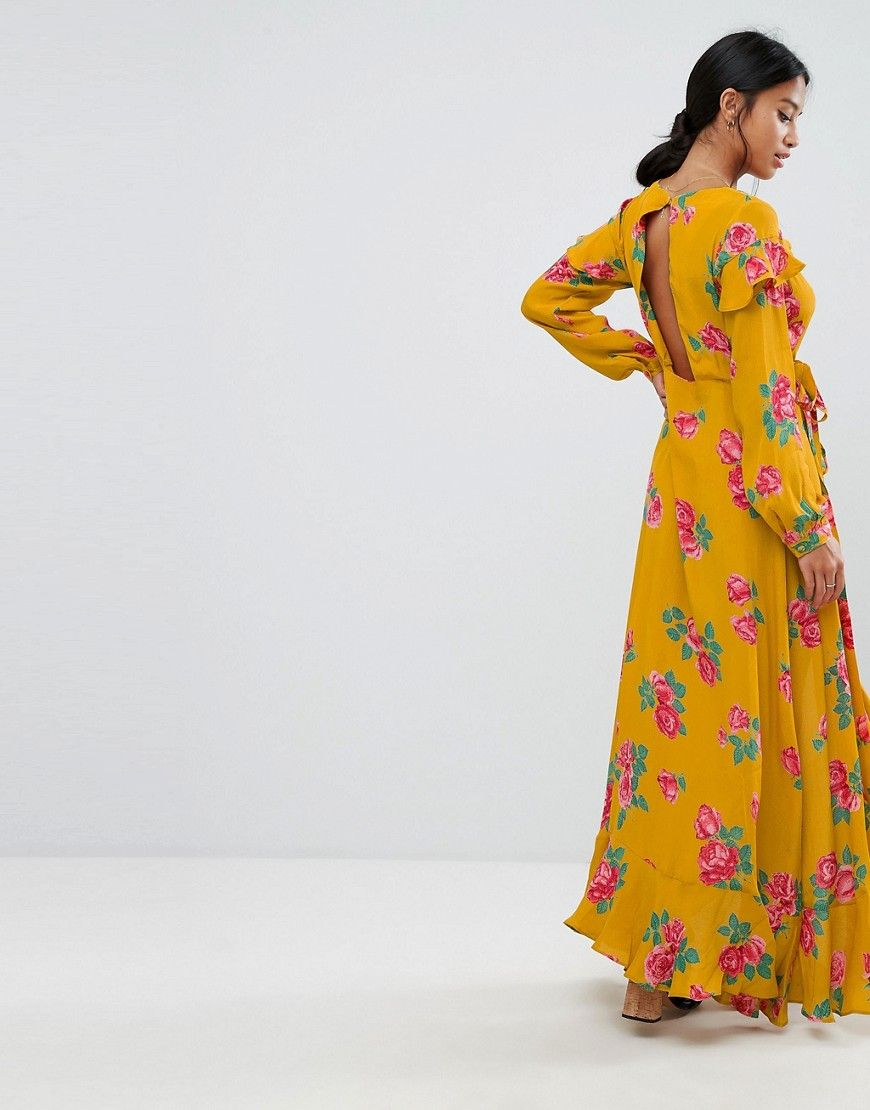 Asos petite long sleeve wrap maxi dress in bold floral yellow