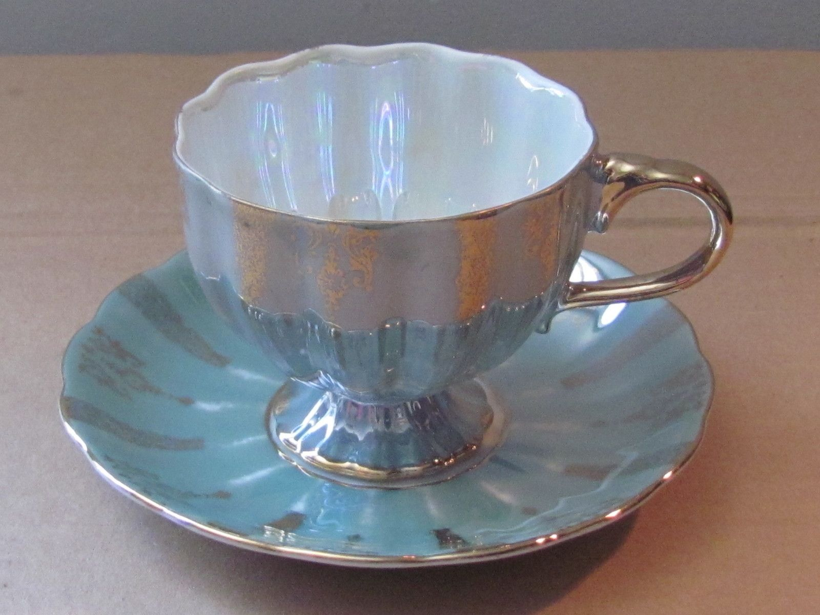 Shafford Lustre white and powder blueTea Cup