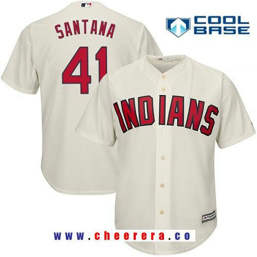 Men s Cleveland Indians  41 Carlos Santana Cream Alternate Stitched MLB  Majestic Cool Base Jersey 558de9e68
