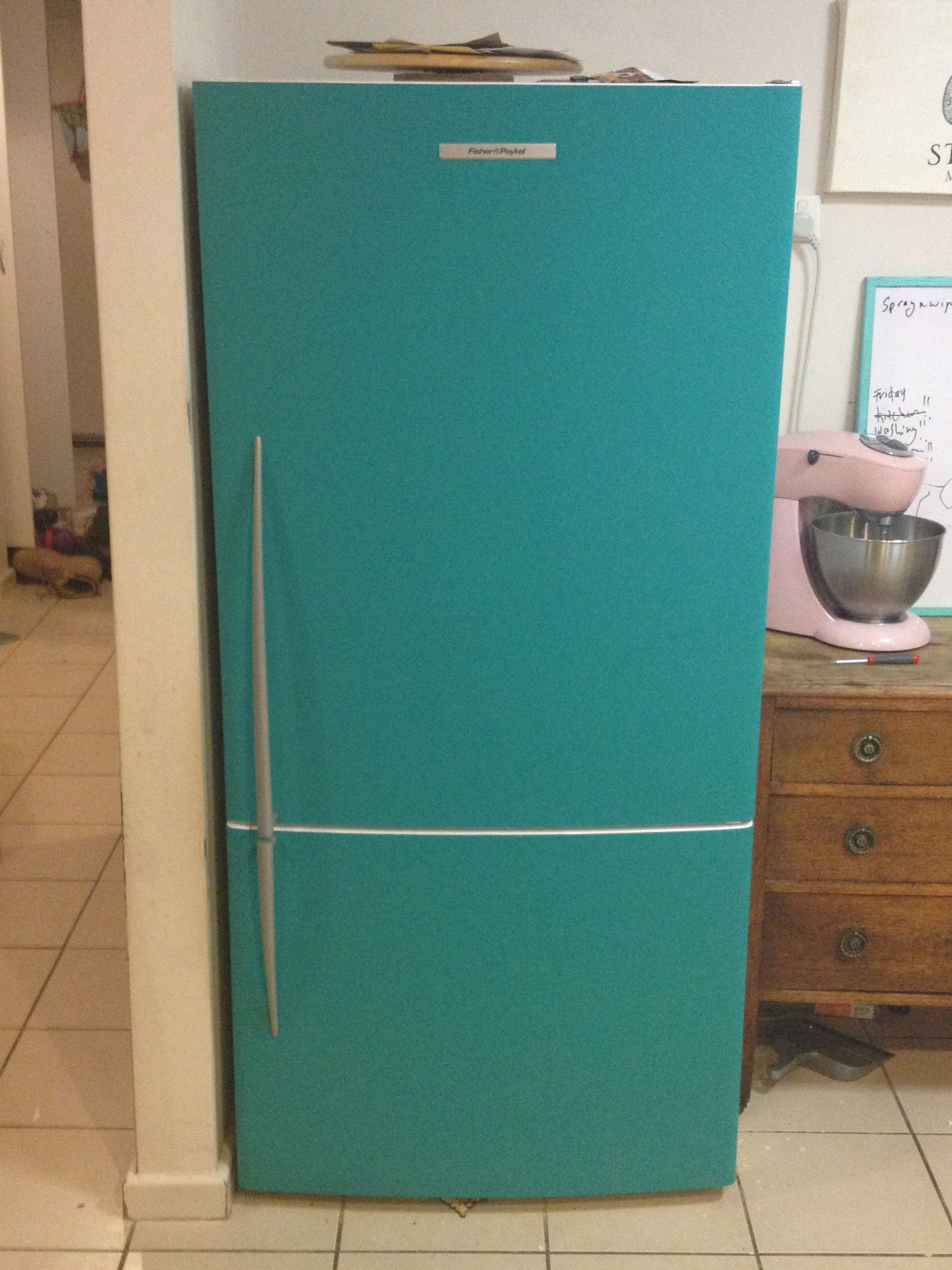 We painted our fridge in teal chalkboard paint, looks fantastic and ...