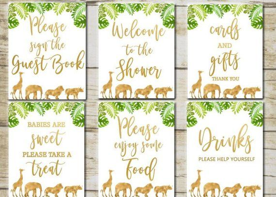 gold safari baby shower signs 6 printable table signs safari baby rh pinterest cl