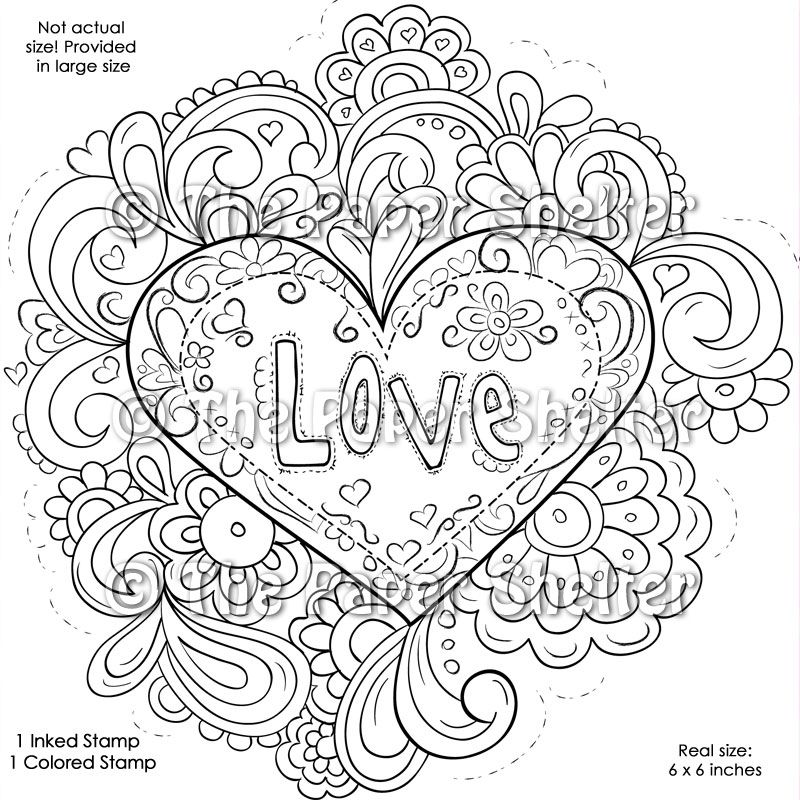 Intricate Design Coloring Pages   Fancy Psychedelic Love ...