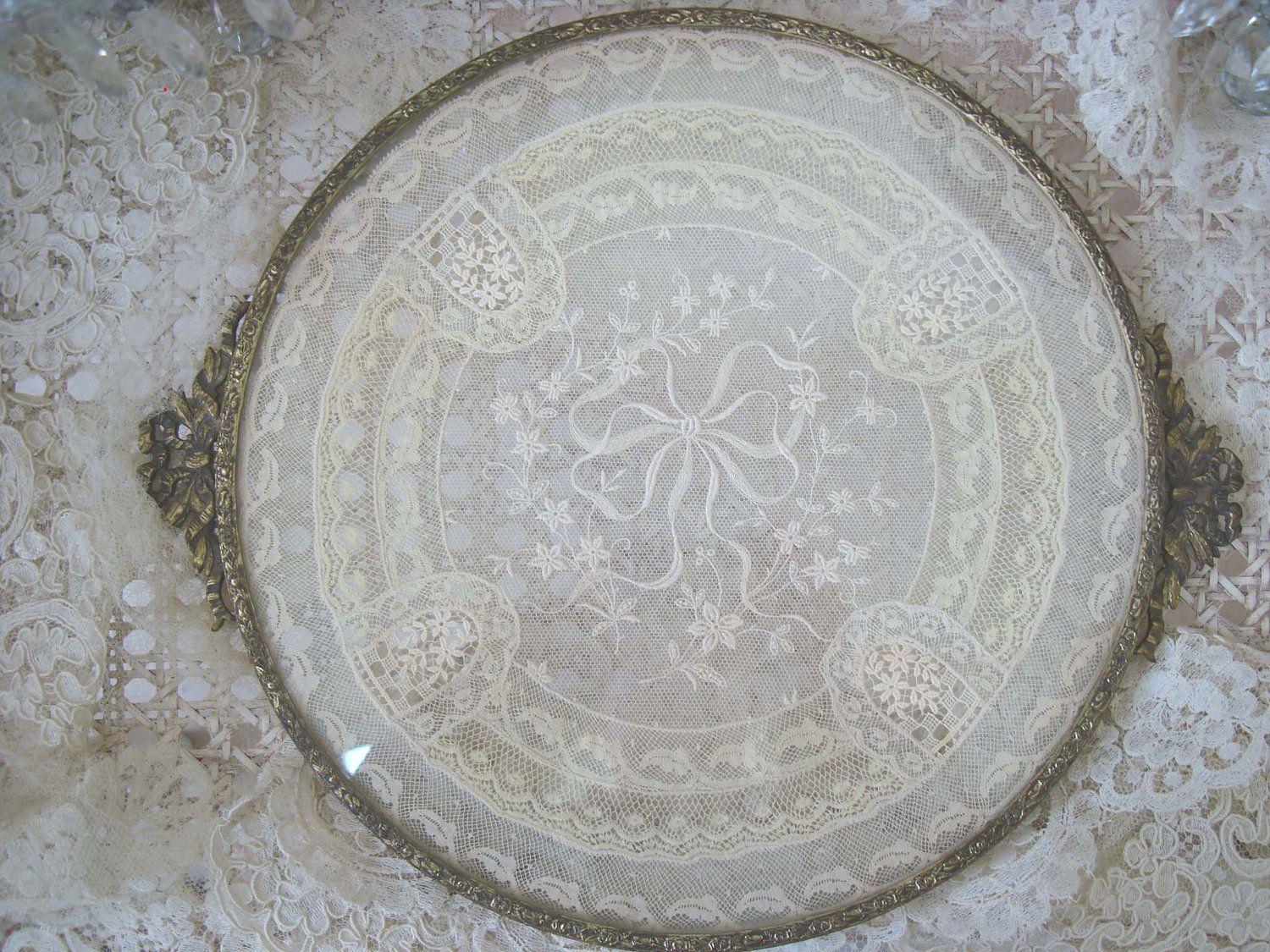 Antique vanity tray with lace insert - Exquisite Vintage Vanity Tray With Lace Doily