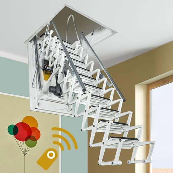 Best Fontanot Zooom Plus Electric Loft Ladders In 2020 Loft 400 x 300