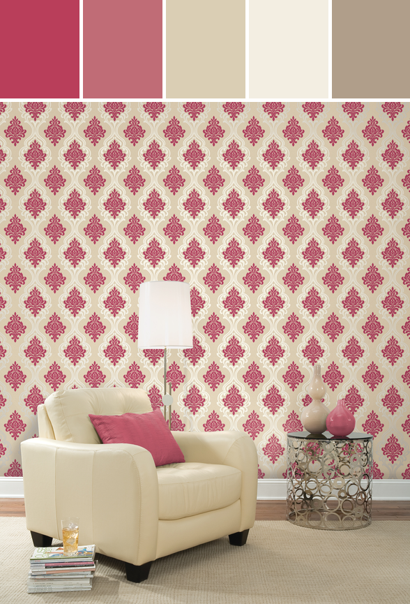 Indiana Pink Damask Designed By Brewster Home Fashions via