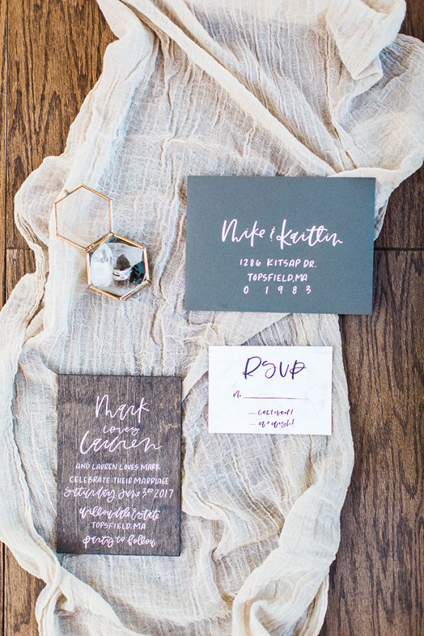 Modern Wood Grain Wedding Invitations aislesociety wedding