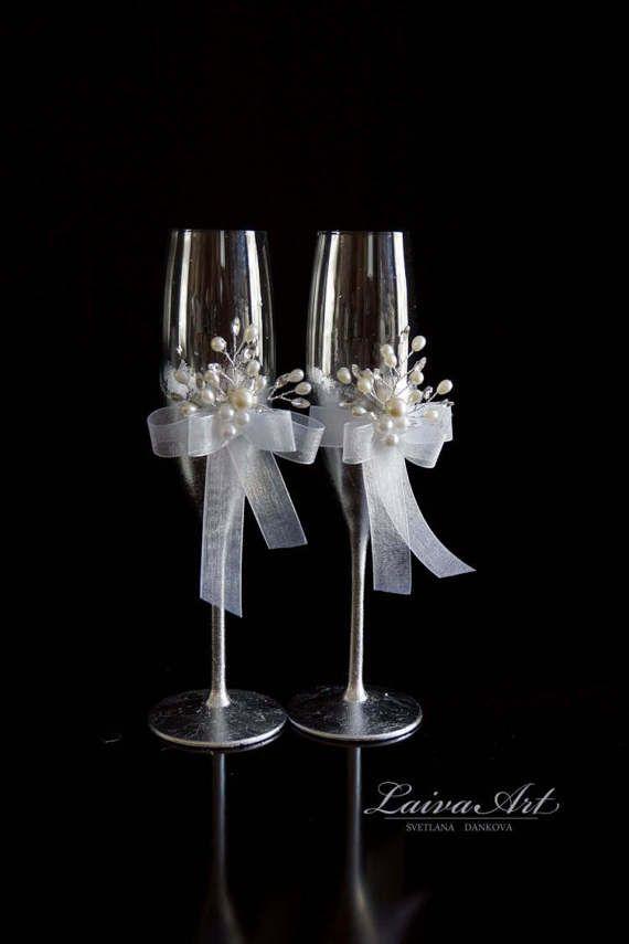 Silver Wedding Champagne Glasses Winter Style Wedding Toasting Flutes Gold Wedding Set of 2