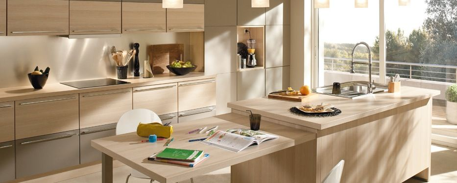 BUT Cuisine Modèle Atalante Couleurs érable Clair Et Taupe - But meuble cuisine pour idees de deco de cuisine