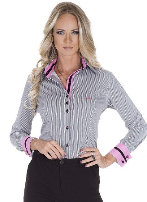 Camisa Listrada Social Feminina Principessa Ana Cláudia e708cda01e2