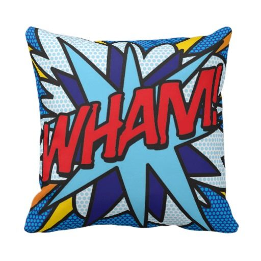 WHAM! KA-POW! double sided throw pillows. WHAM! on one side, KA-POW! on the other. They could start a pillow fight!