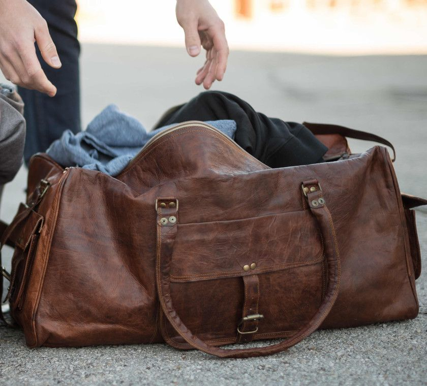 Leather Carry On Duffel 22