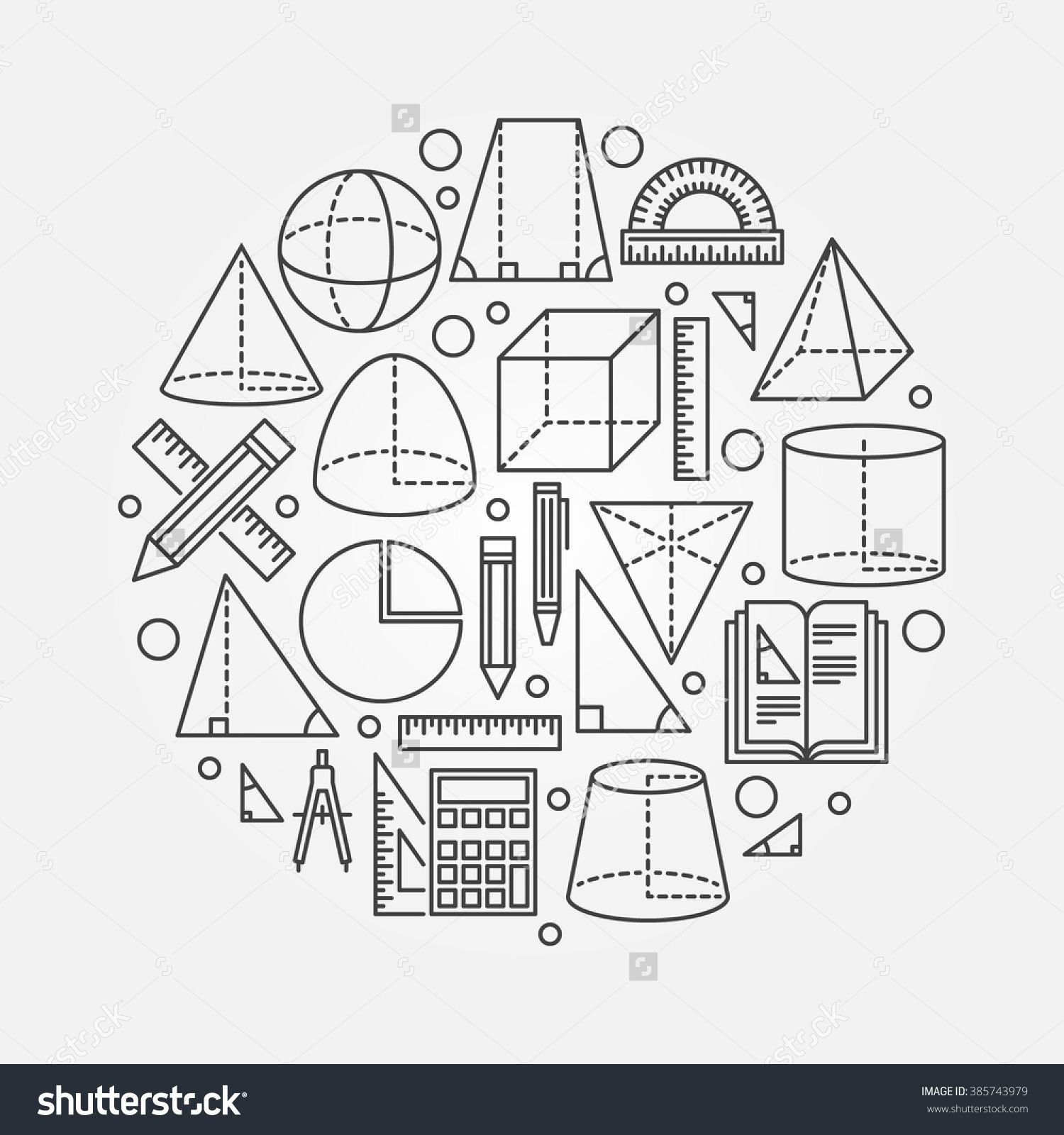 Trigonometry And Geometry Illustration Vector Round Geometry Or Mathematics Concept Background Made With Thin Line Icon Free Art Prints Math Design Math Logo