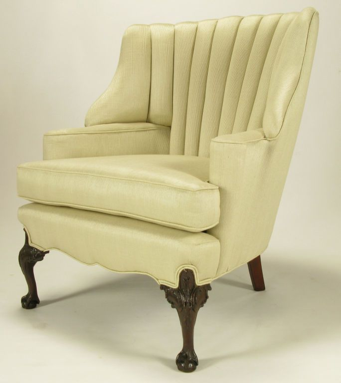 1930s Channeled Back Claw Foot Georgian Wingback Chair | From a unique  collection of antique and - 1930s Channeled Back Claw Foot Georgian Wingback Chair From A