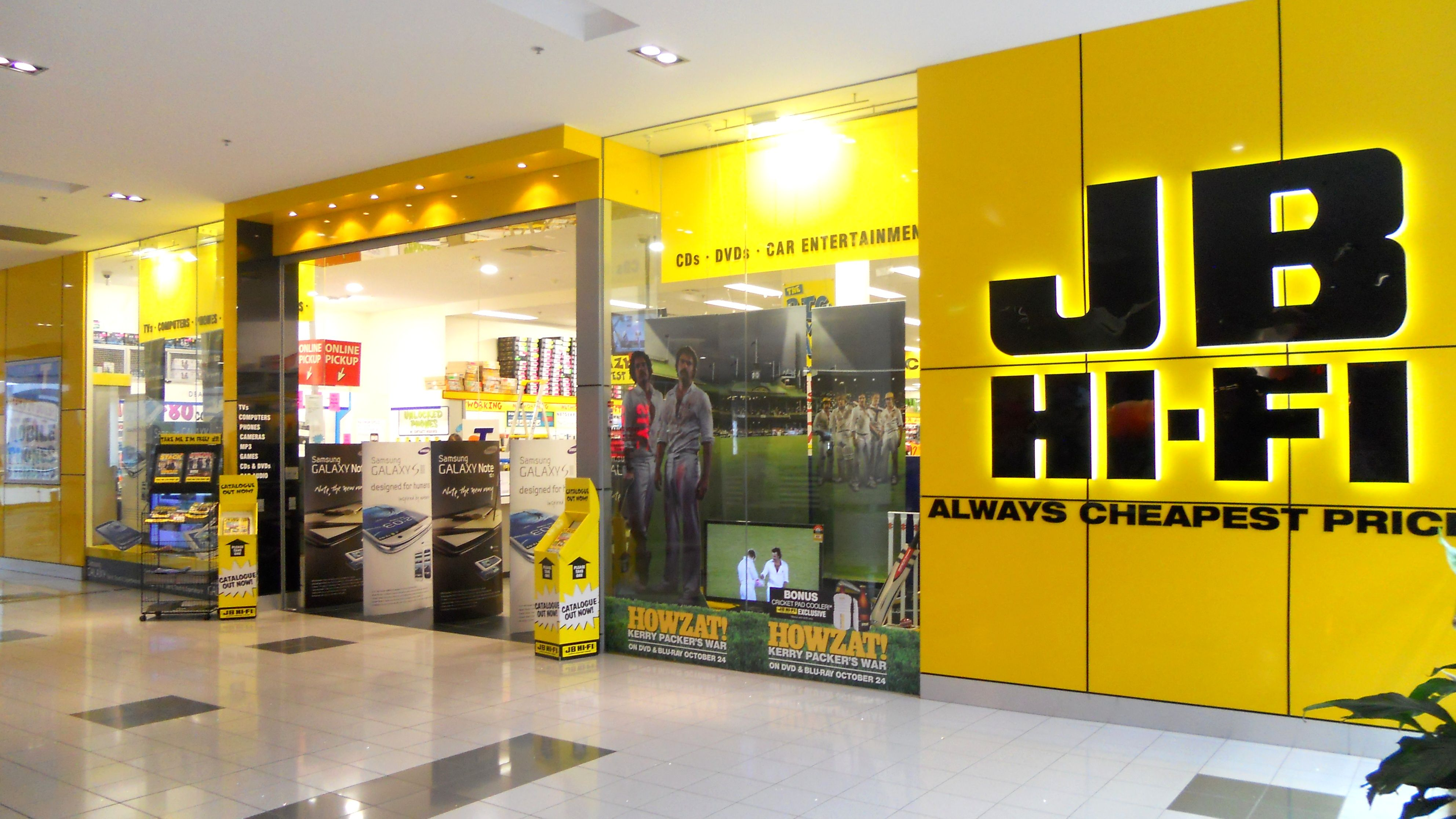 This is the front of a JB Hi-Fi store. The use of the colour yellow ...