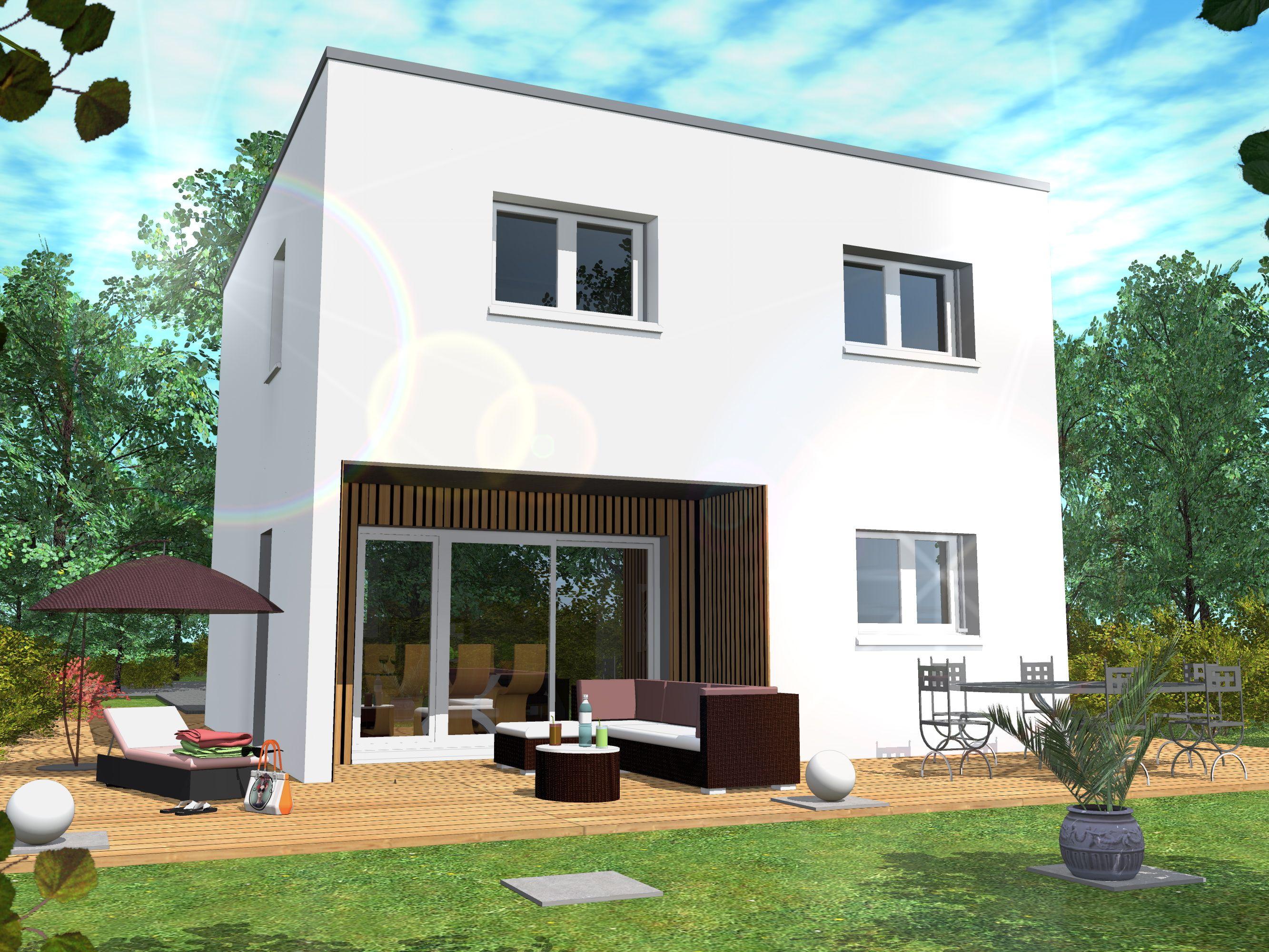 Log est construite sur deux niveaux. Il est possible de personnaliser ses façades par divers ...