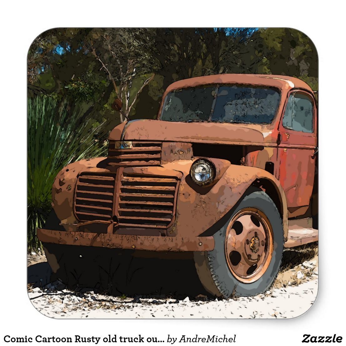 Comic Cartoon Rusty old truck outback Australia Square