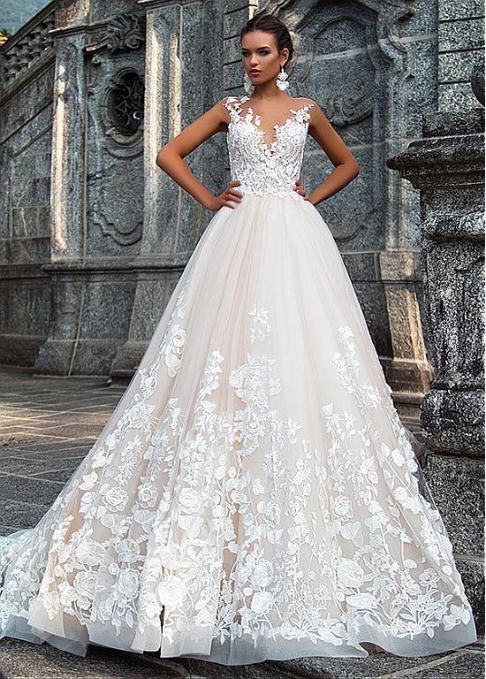 comprar vestidos de novia de tul y satén impresionante joya cuello a