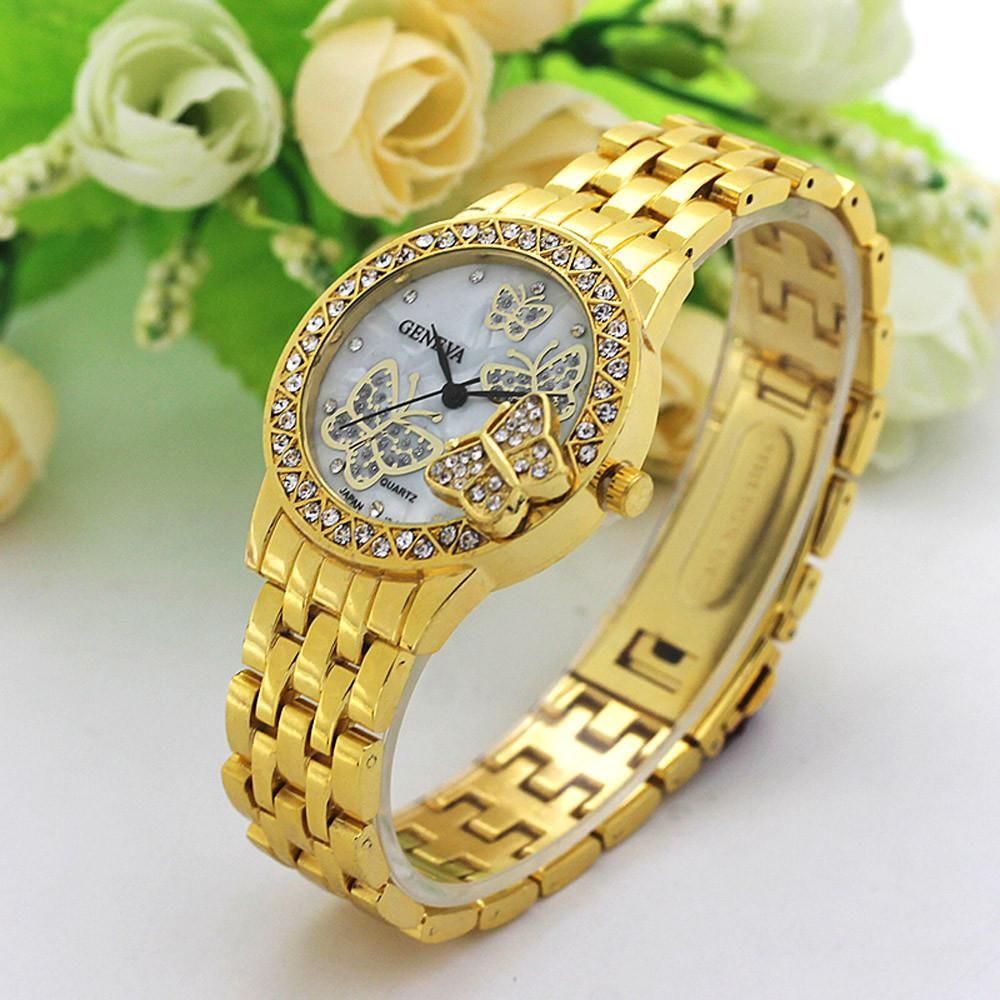 874c90807436 Fashion Women Butterfly Diamond Stainless Steel Band Analog Quartz Movement  Wrist Watch Feature  brand new and high quality .