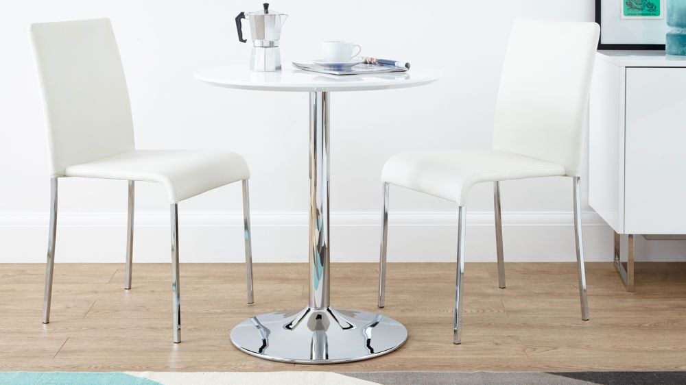 Naro Round 2 Seater White Gloss Table Small Kitchen Table Sets