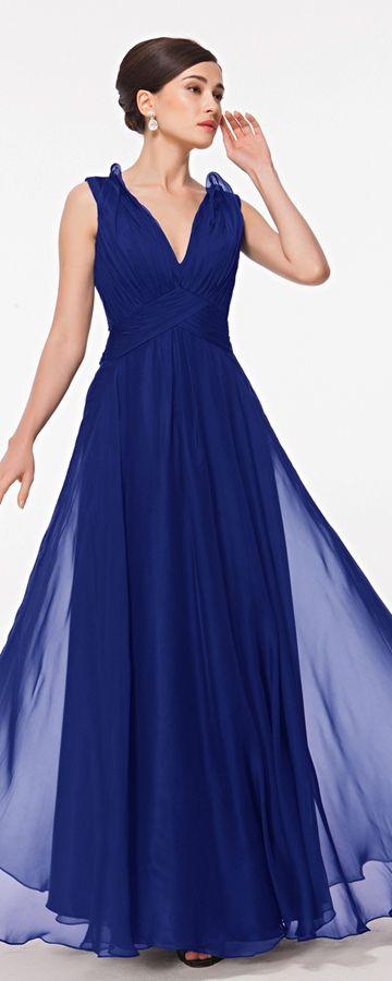 V Neck Royal Blue Bridesmaid Dresses Sheer Back | Lace bridesmaids ...