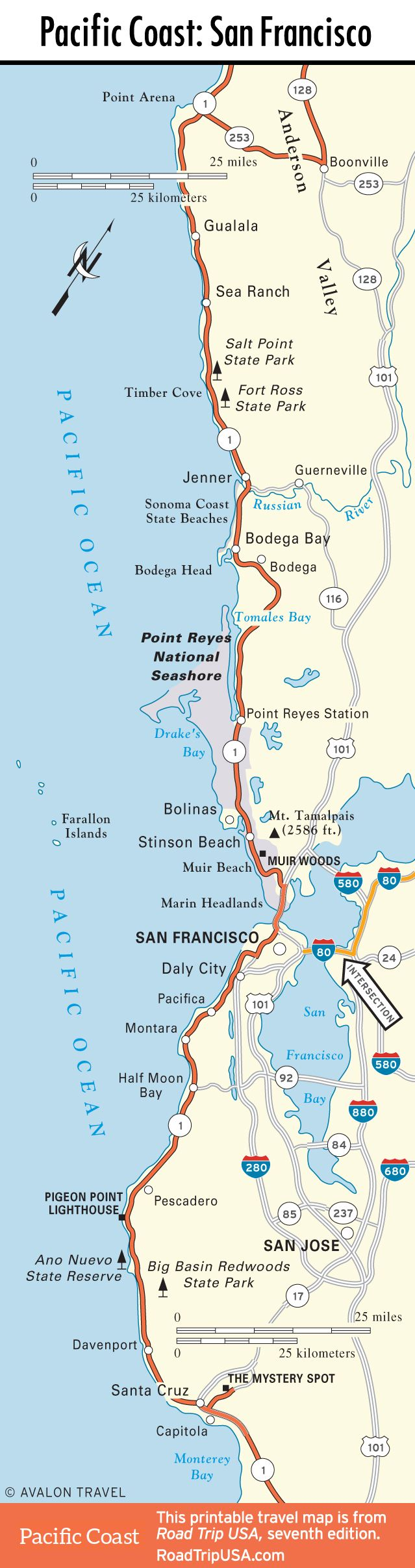 California Coastal Highway Map on