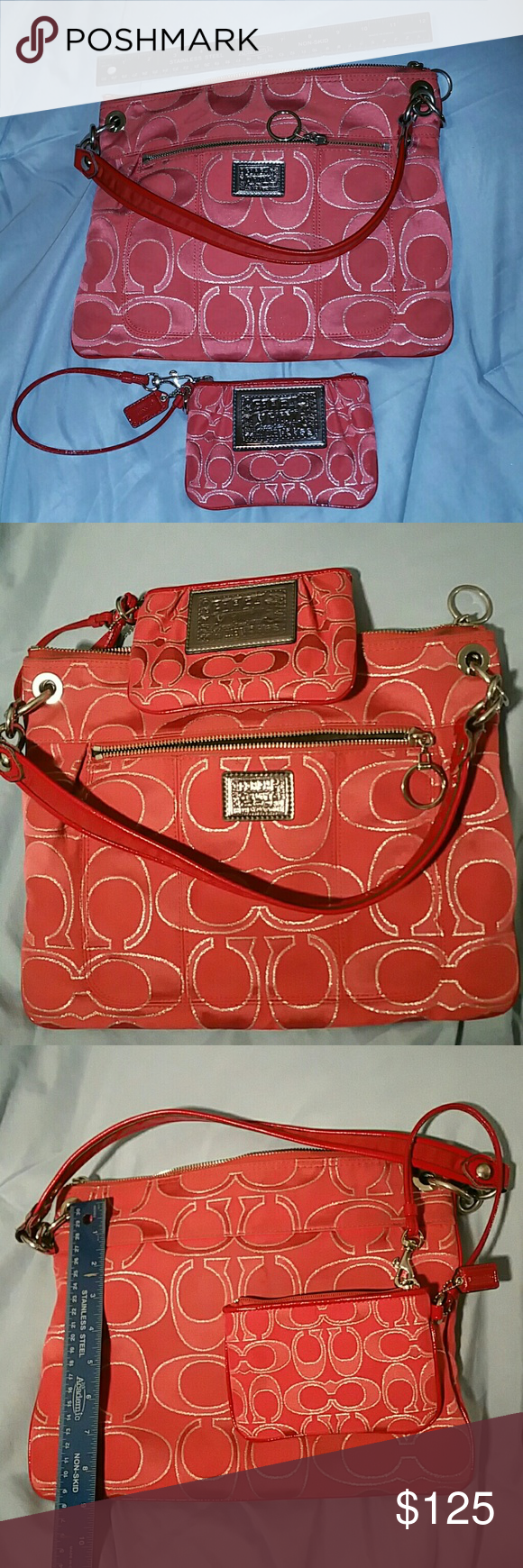 ab739a37261 Coach purse No. G1168-18135 with matching wristlet It's a really cute pink  color. Brown interior. At the zipper ends there's some dirt from it being  used ...