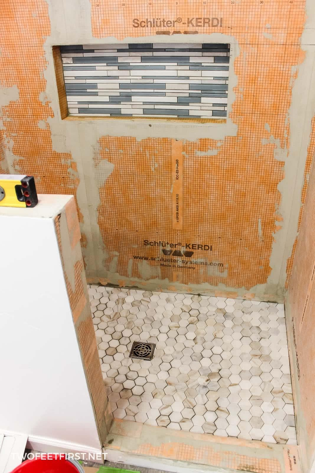 My Experience Tiling A Shower For The First Time Bathroom Flooring Bathroom Floor Tiles Diy Tile Shower