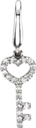 1/8 ct tw Diamond Key Charm in 14k White Gold
