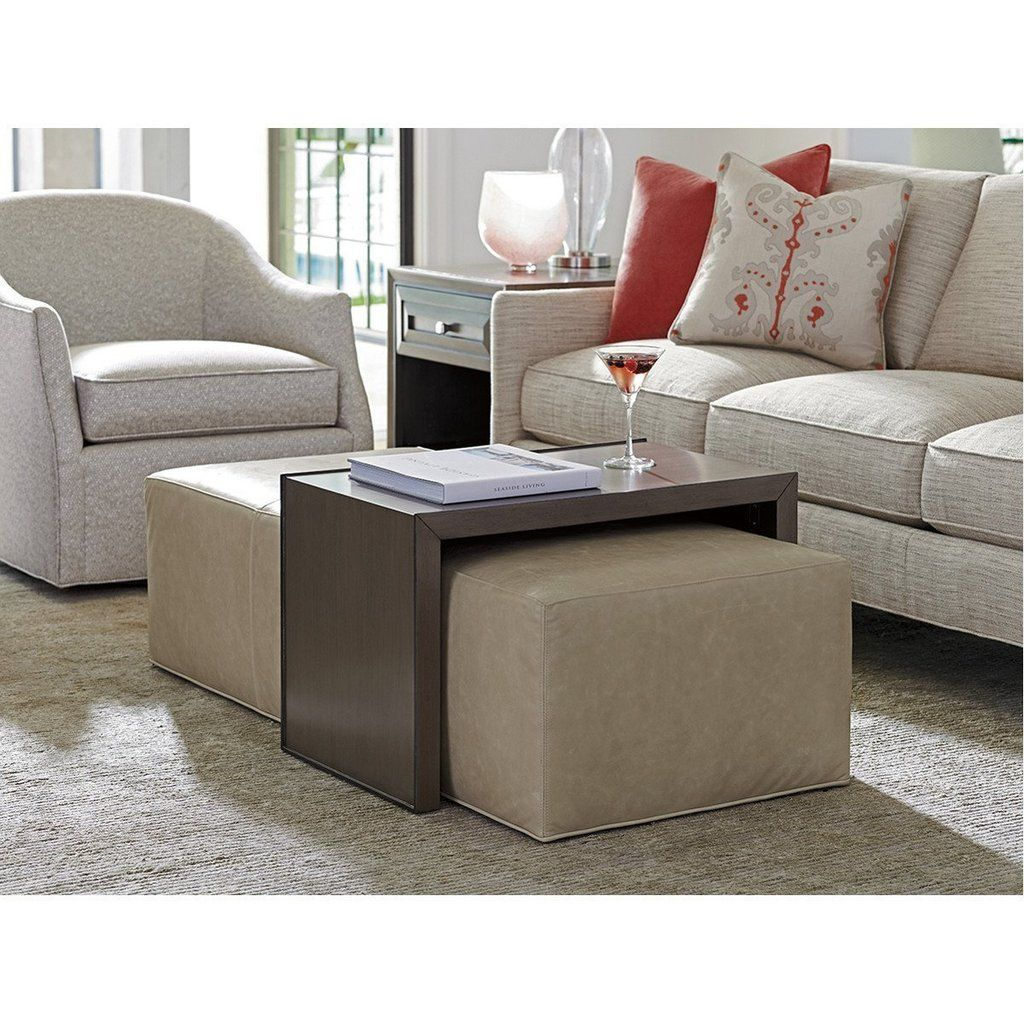 Astounding Lexington Ariana Savona Leather Cocktail Ottoman With Slide Gmtry Best Dining Table And Chair Ideas Images Gmtryco