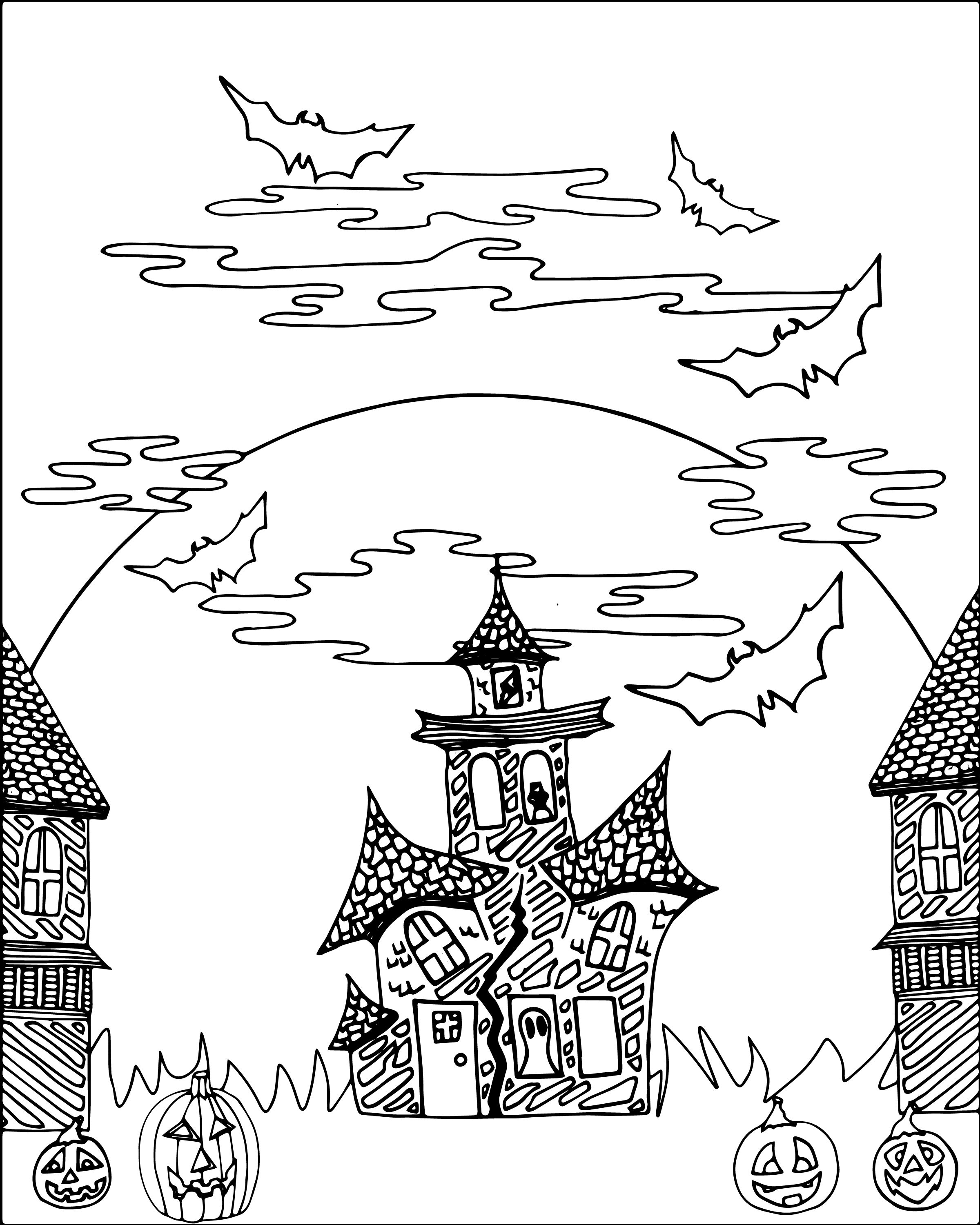 FREE Halloween Haunted Castle Adult Coloring Sheet