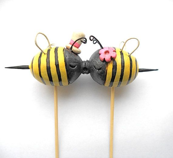 Black And Yellow Kissing Bees Wedding Cake Topper For Your Summer
