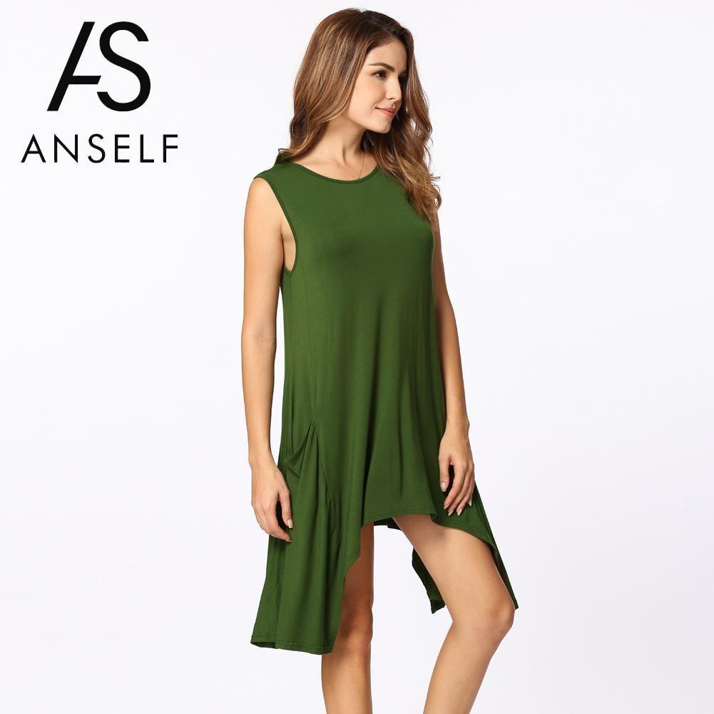 b8e418461b5 Summer Swing T Shirt Women Casual Long Tops Sleeveless Pockets Tunic  Asymmetrical Hem T Shirt