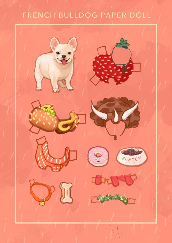 French Bulldog Paper Doll Illustration Print * 1500 free