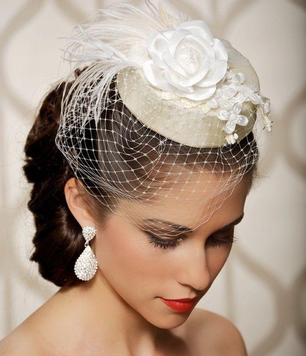 Victorian Wedding Veil, Ivory Birdcage Blusher with Crystal ...