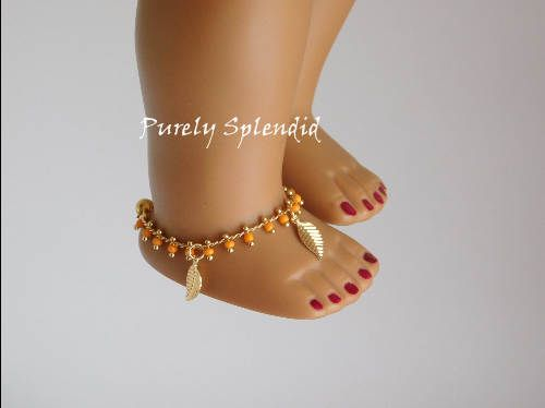 Boho Ankle Bracelet for 18 inch girl doll American Made jewelry by PurelySplendid