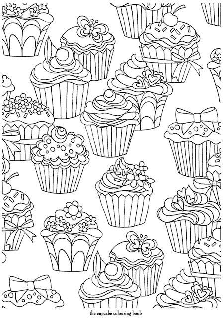 Cupcakes Pattern free printable adult coloring pages Sznezk