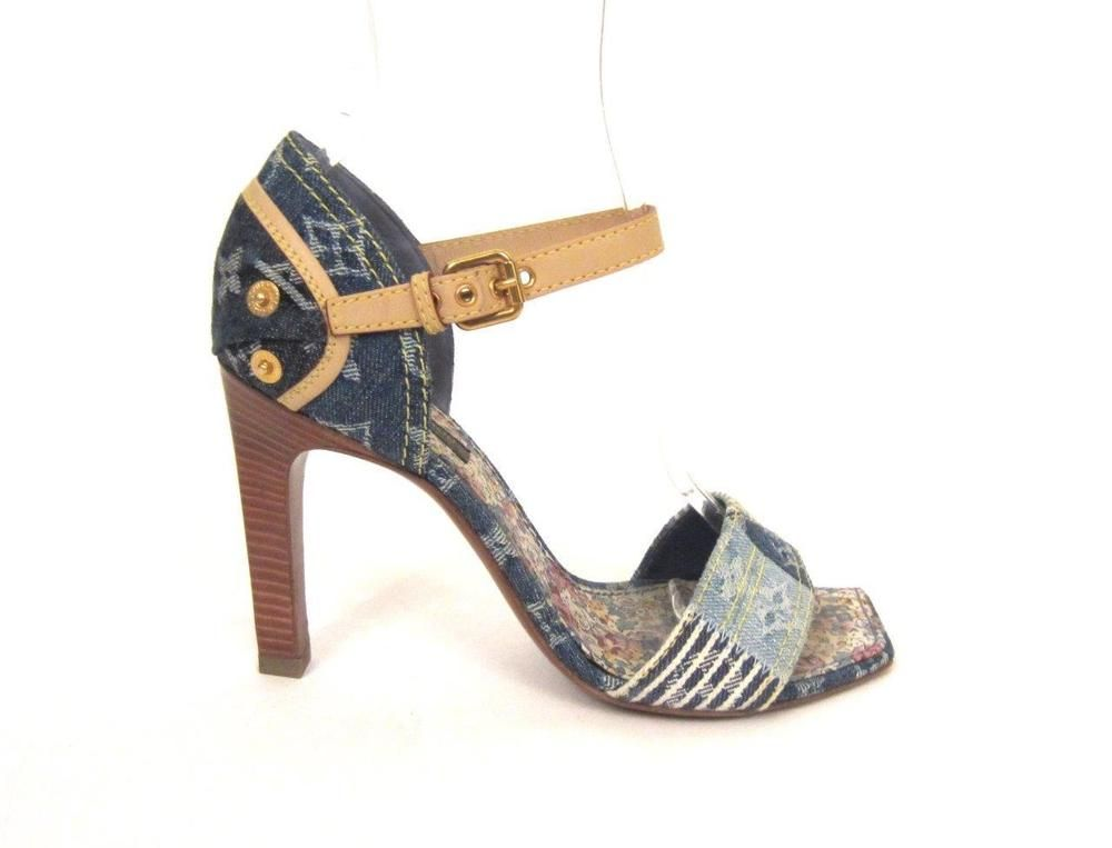 8666a16ce9b7 LOUIS VUITTON LEATHER TRIM BLUE MONOGRAM DENIM PATCHWORK SANDALS SZ.37   LouisVuitton  OpenToe