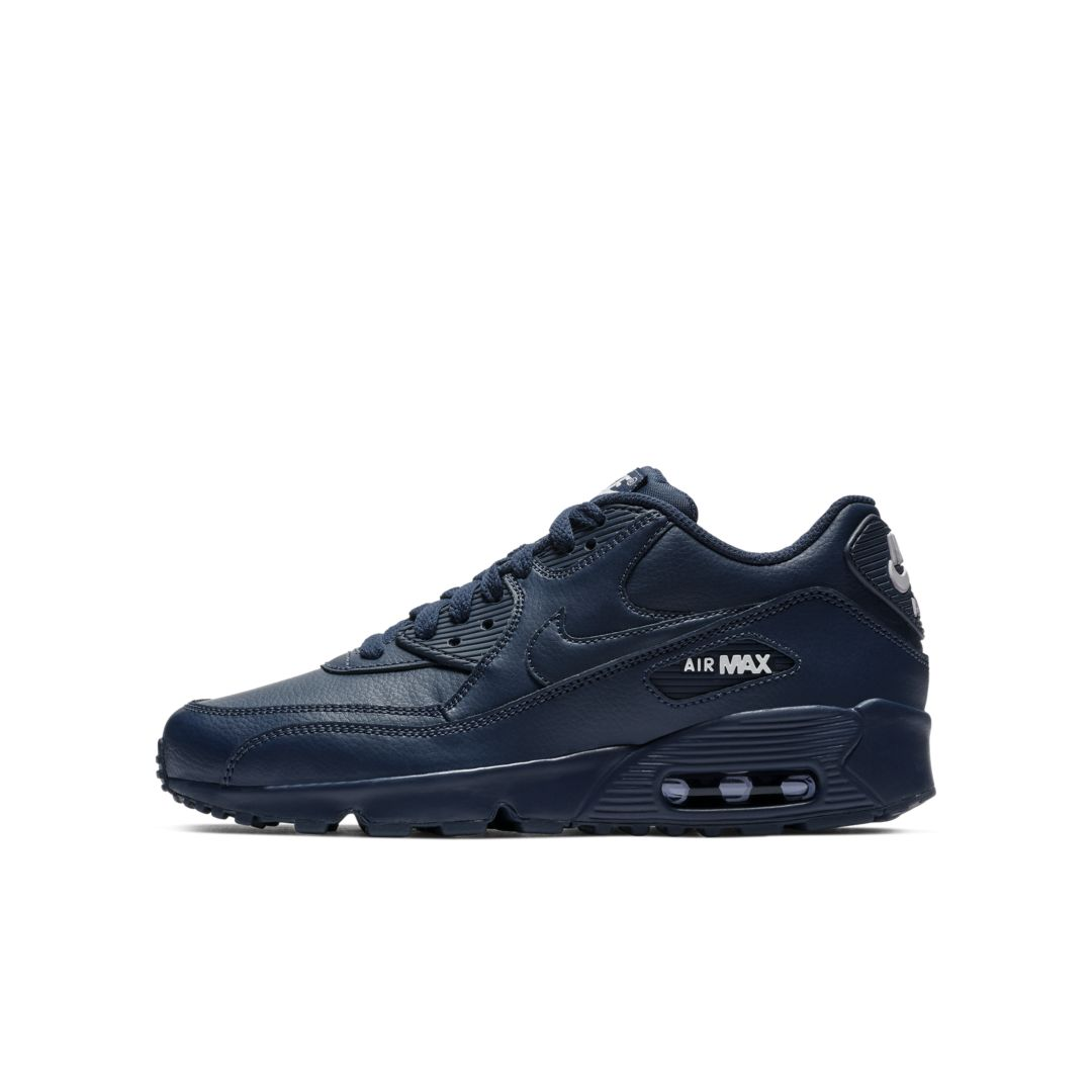 Nike Air Max 90 Leather Big Kids' Shoe Size 5.5Y (Midnight