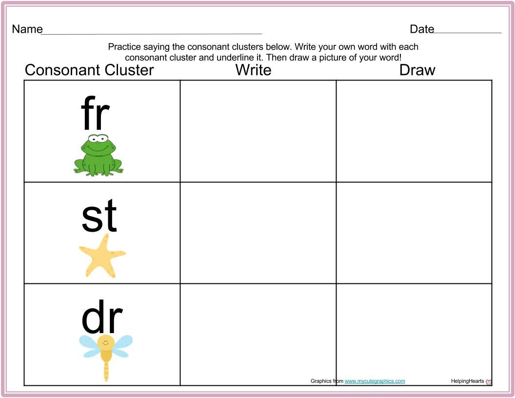 Digraph And Consonant Cluster Write And Draw