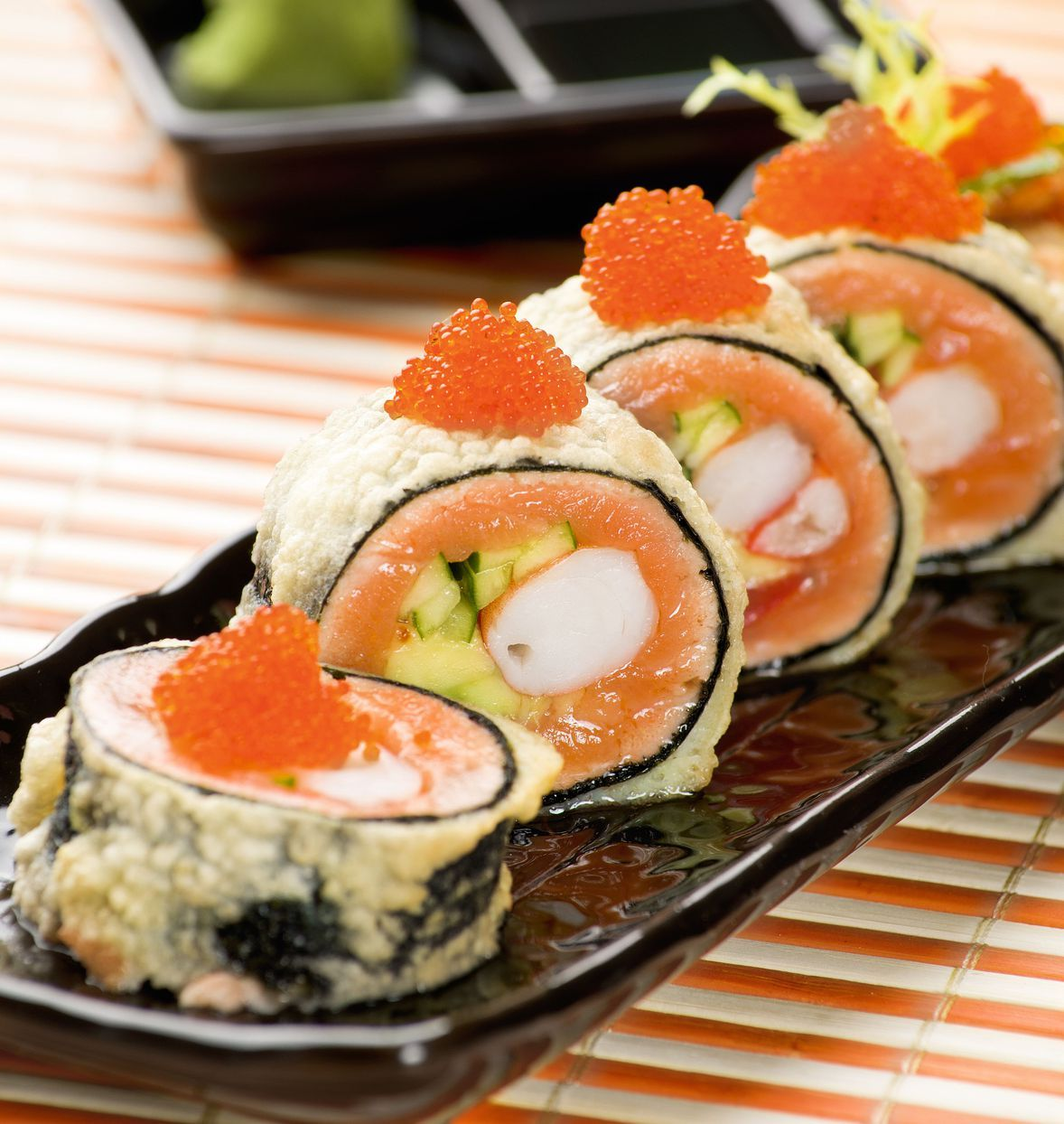 tiger eye salmon and shrimp sushi roll without rice food drinks pinterest essen und rezepte. Black Bedroom Furniture Sets. Home Design Ideas