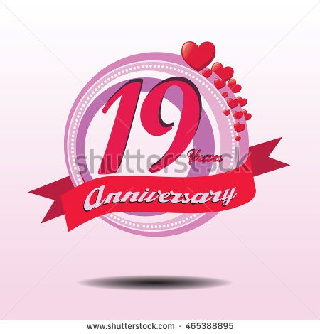 19 years lovely anniversary logo with pink circle composition and red heart icon