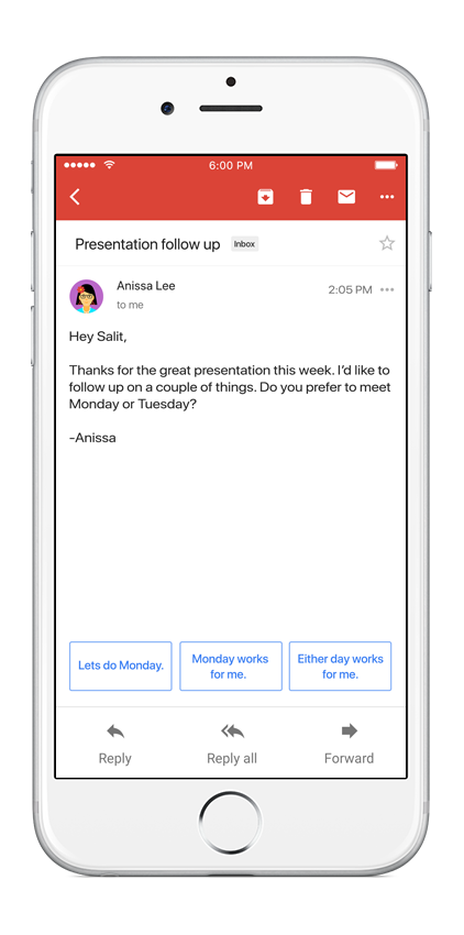 Save time with Smart Reply in Gmail App interface