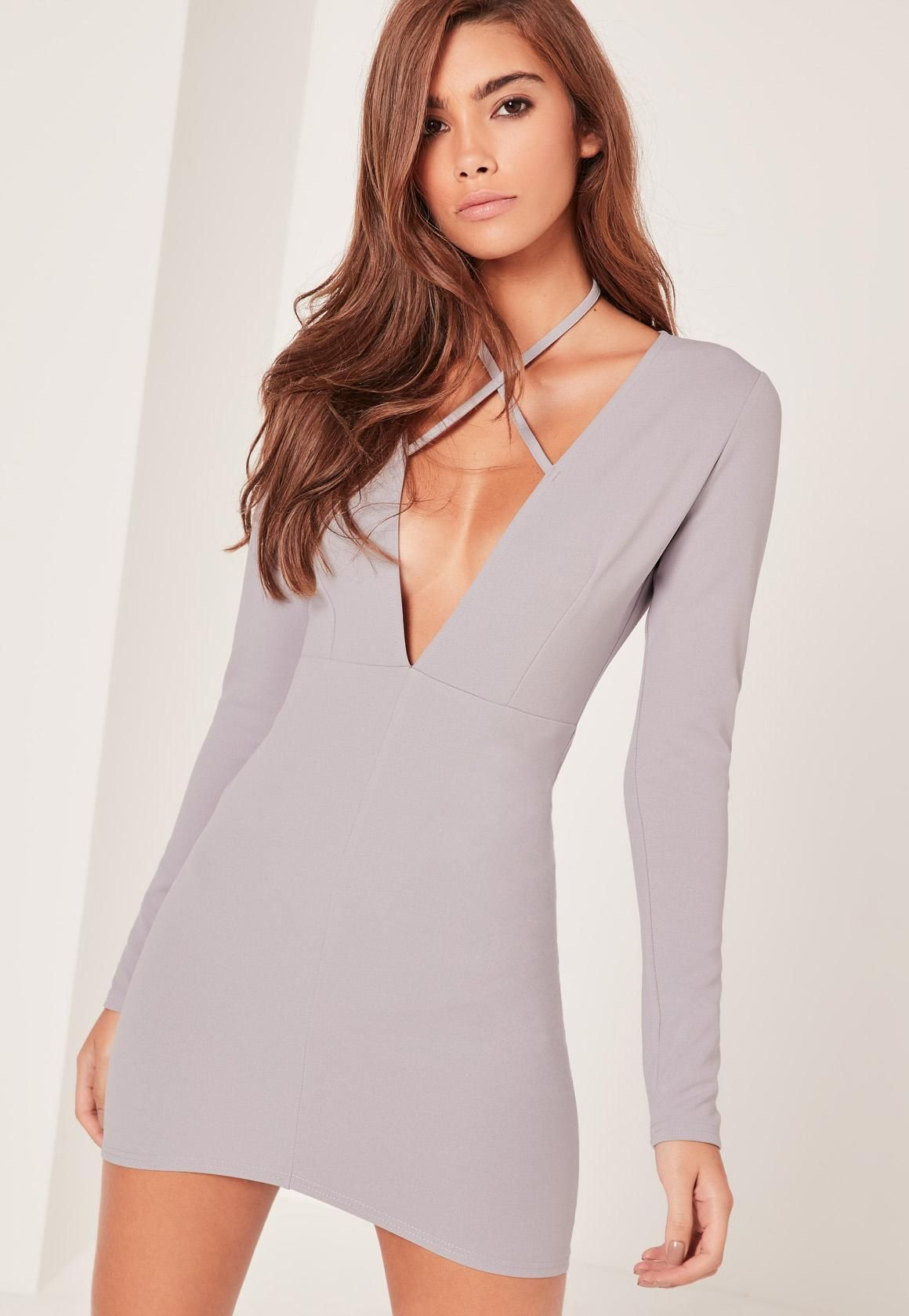 30986e2041c Missguided - Grey Tie Neck Plunge Long Sleeve Bodycon Dress ...