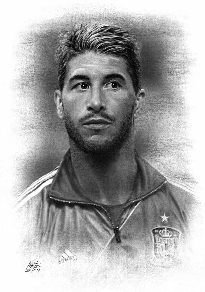 Sergio Ramos Dibujo  fotos de futbolistas a lapiz  Pinterest