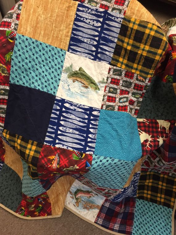 Fishing And Hunting Flannel Rag Quilt Large Trout Fish Etsy Rag Quilt Flannel Rag Quilt Quilts