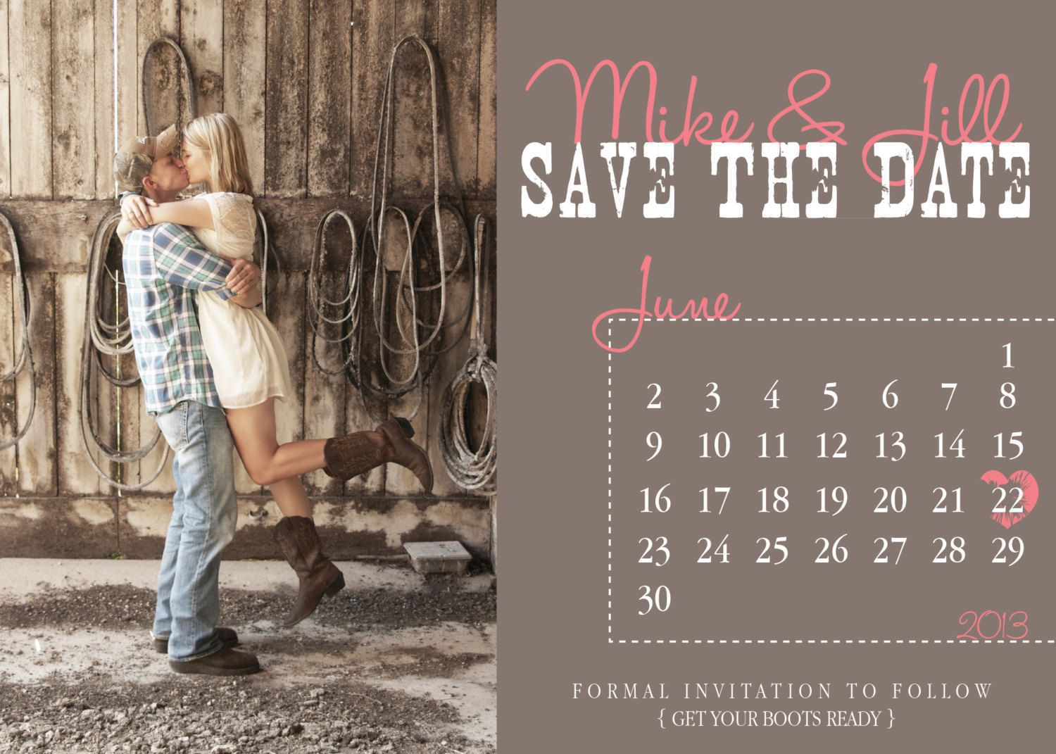 country save the dates | Country Calendar Save The Date Wedding ...